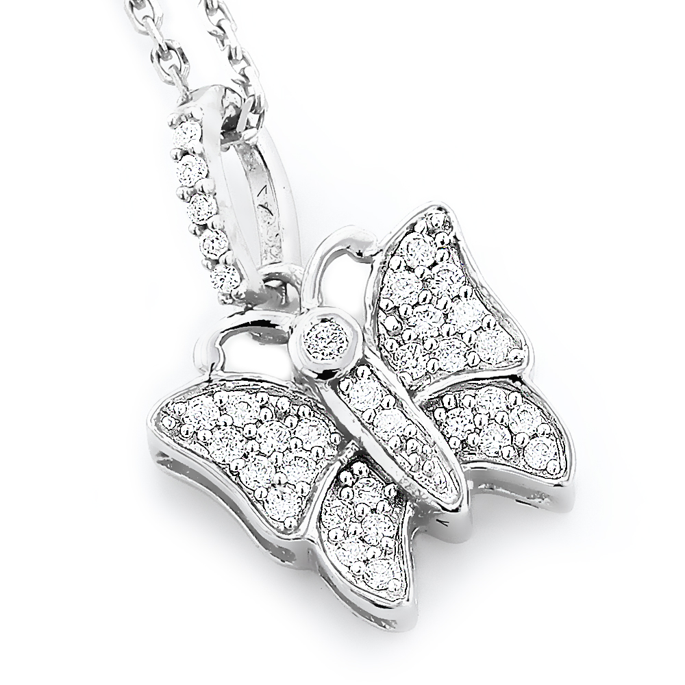 Cute Diamond Butterfly Pendant 14K Gold 0.19ct White Image