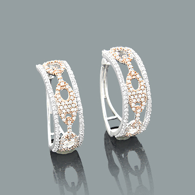1cc2b98866b 14k White   Rose Gold Diamond Gucci Link Hoop Earrings for Women 0.83ct  Main Image
