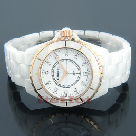 fb05b38735ad3 Chanel White Ceramic Ladies Gold and Diamond Watch