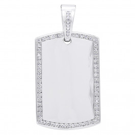 925 Sterling Silver Rhodium Plated Diamond and Pearl Pendant 0.6ct