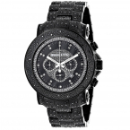 Oversized Iced Out Black Diamond Mens Watch by Luxurman 2ct Fully Paved