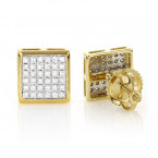 14K Gold Pave Set Round Diamond Studs Earrings 0.33ct