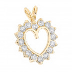 14k Gold Round Diamond Heart Pendant for Women 2.4ct Open Heart Design