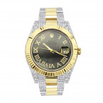 18k Gold Rolex Oyster Perpetual Diamond Watch for Men 7.5ct Two Tone