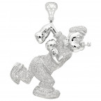 Cartoons Custom Real Diamond Popeye Pendant for Men in Sterling Silver 4ct