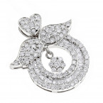 Designer 18K Gold Diamond Angel Wing Pendant for Women 2.21ct