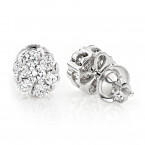 Diamond Earrings Cluster Stud Style 1/2ct 14K Gold