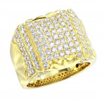 14k Gold Unique Mens Diamond Statement Ring 2.75ct by LUXURMAN