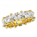 18k Gold 3 Carat Tilted Round & Marquise Diamond Eternity Band Luxurman Klara