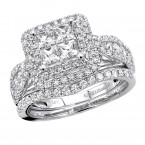 Bridal Sets 14k Gold Princess Cut Diamond Engagement Ring & Band Set 1.85ct