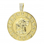 Custom Aztec Sun Stone Calendar Coin Diamond Pendant in 18K Gold for Men