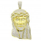 Hip Hop Jewelry Piece Large Jesus Face VS Diamond Pendant for Men 18K Gold