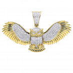 Large Solid 10K Gold Real Diamond Owl Pendant 1 Carat By Luxurman