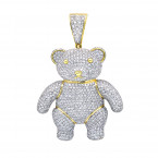 Luxurman Charms Real 10k Gold Large Teddy Bear Diamond Pendant Mens 3.25ct