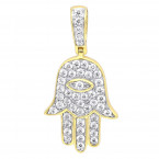 Small 14k Gold Hamsa Diamond Pendant 0.3ct Hand of God Amulet by LUXURMAN