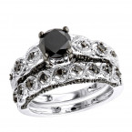 Luxurman 10k Gold Black Diamond Infinity Engagement Ring Set 1.55ct