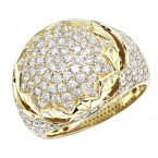 Luxurman Mens Diamond Rings Unique Large 3 Carat 14k Gold Pinky Ring