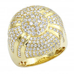 Luxurman Mens Statement Jewelry 3.75 Carat Diamond Ring for Men 14k Gold