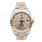 Mens Diamond Rolex Datejust Two Tone Rose Gold Watch Oyster Perpetual 40mm