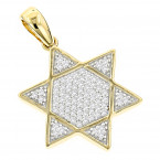 Pave Diamond Star of David Gold Unisex Pendant 14K Gold 0.25ct