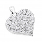 Puffed Hearts: Ladies 14K Gold Diamond Heart Pendant 1.5ct