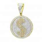 Real 10k Gold Diamond Dollar Sign Money Pendant for Men 1 Carat Medallion