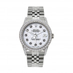 Rolex Datejust Mens Diamond Bezel Watch Stainless Steel 5ct 36mm Case