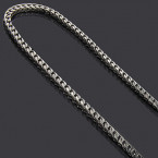 Sterling Silver Franco Chain 3.5mm Black Rhodium 22in-36in