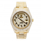 18k Gold Iced Out Rolex Day Date Arabic Dial Special Edition Diamond Watch