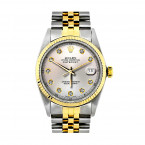 Two Tone Rolex Datejust Mens Diamond Watch Stainless Steel 18K Yellow Gold