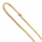 Yellow Gold Miami Cuban Link Curb Chain for Men 14K 4mm 22-40in