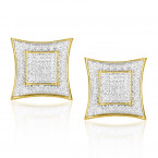 Yellow Gold Plated Silver Diamond Earrings 0.25ct