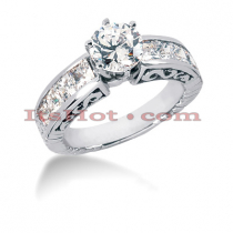 14K Gold Channel and Prong Set Diamond Designer Engagement Ring 1.62ct