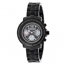 Iced Out Watches: Luxurman Black Diamond Watch for Women 2.15 carats