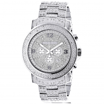 Oversized Iced Out Mens Diamond Watch by Luxurman White Gold Plated 2ct