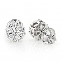 Small Diamond Cluster Earrings Studs 0.25ct 14K Gold