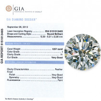 0.57 CT Round Cut  Diamond I I1 GIA Certified