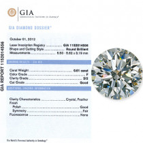 0.61 CT Round Cut Diamond F SI2 GIA Certified