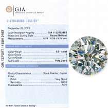 0.61 CT Round Cut Diamond I I1 GIA Certified