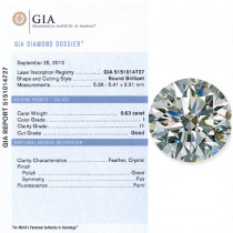 0.63 CT Round Cut Diamond G I1 GIA Certified