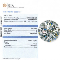 0.72 CT Round Cut Diamond G I2 GIA Certified