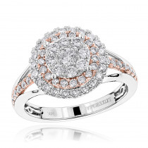 1 Carat 14K Gold Double Halo Cluster Diamond Engagement ring by Luxurman