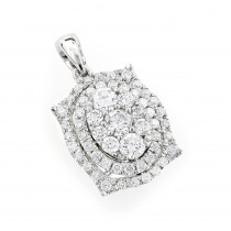 1 Carat Cluster Fashion Ladies Diamond Pendant 14k Yellow, Rose White Gold