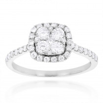 1 carat Diamond Engagement Ring Halo Cluster Setting 14k Gold