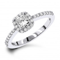 1 Carat Halo Round and Princess Cut Diamond Engagement Ring in 14k Gold