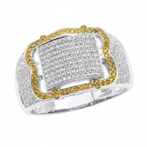 1 Carat Mens Pinky Rings Collection White Yellow Diamond Ring in 10k Gold