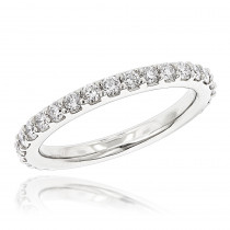 1 Carat Slim Diamond Platinum Wedding Band for Women by Luxurman Stackable