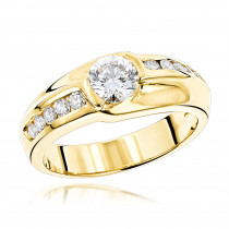 1 Carat Solitaire Mens Diamond Ring 1.5ctw 14K White, Rose or Yellow Gold