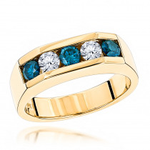 5 Stone 1 Carat White and Blue Diamond Ring: 14K Gold Mens Jewelry