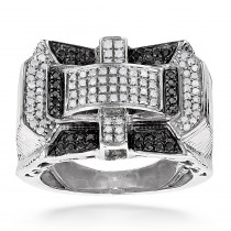1 Carat White Black Diamond Ring for Men in Sterling Silver